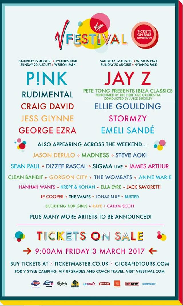 V Festival 2017 lineup poster