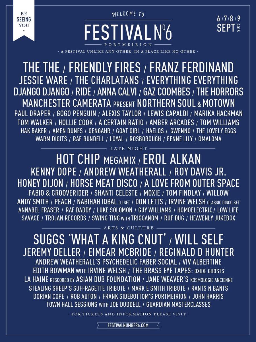 Festival No. 6 lineup poster