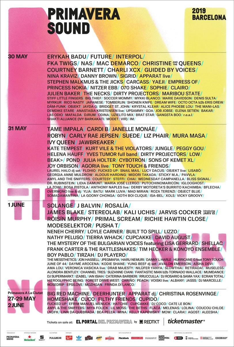 Primavera Sound lineup poster