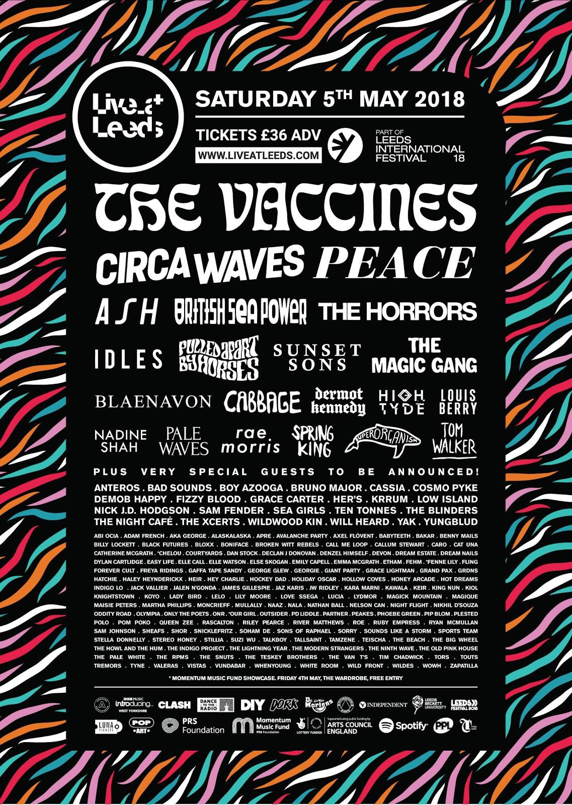 Live At Leeds 2018 2nd line up poster